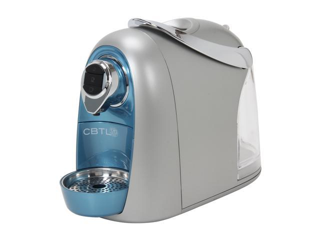 SO4 coffeemaker blue silver at front side shot